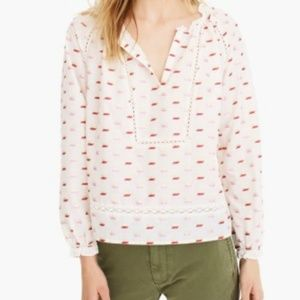 J. Crew Point Sur Ruffled Neck Popover Blouse
